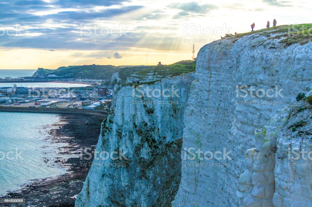 White Cliffs of Dover and the port as dusk falls stock photo