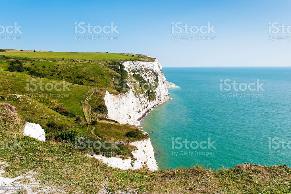 White Cliffs of Dover on a clear sunny day stock photo