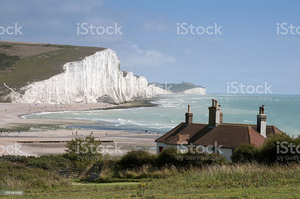 white cliffs of Southern England stock photo