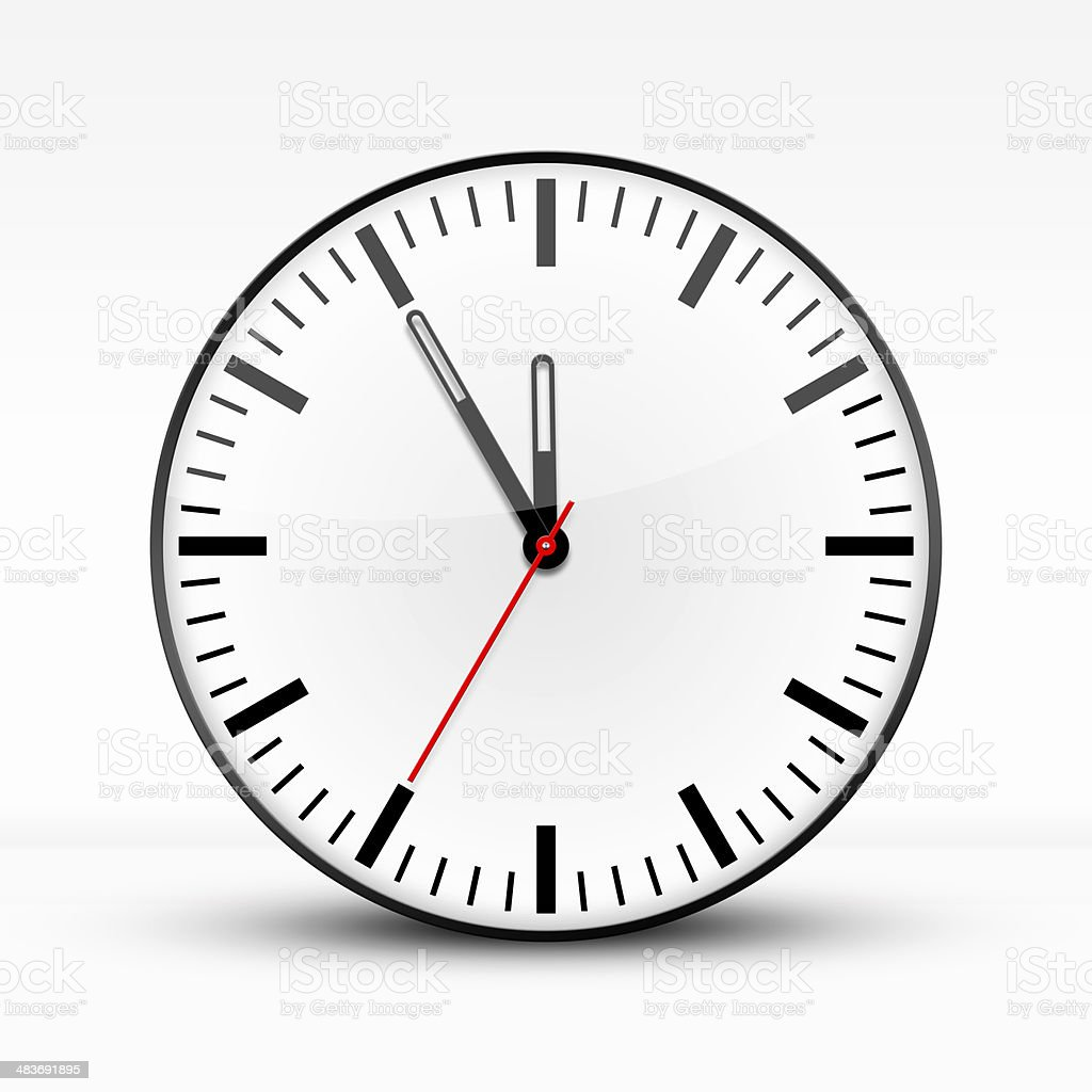 White clock, five to twelve stock photo