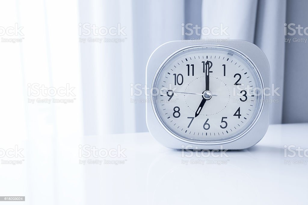 White Clock With White Wallpaper Background Morning Time
