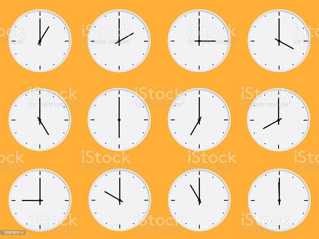 White clocks stock photo