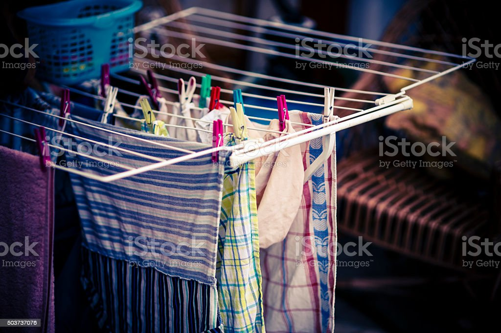 white clothes dryer stock photo
