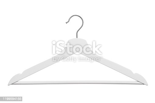 White clothes hanger, isolated on white background