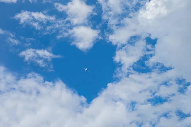 weiße wolken gegen blauen himmel - schrift am himmel stock-fotos und bilder