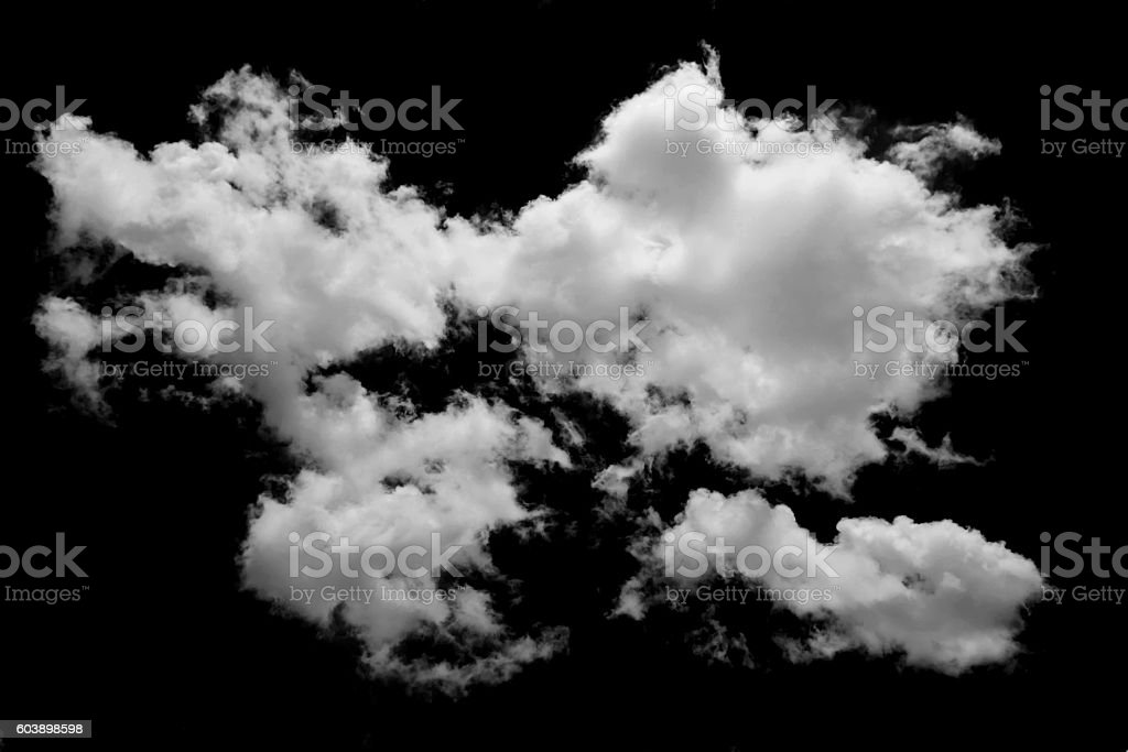 White cloud isolated on black background stock photo