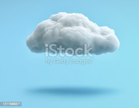 White cloud isolated on blue background. 3D redering with clipping path