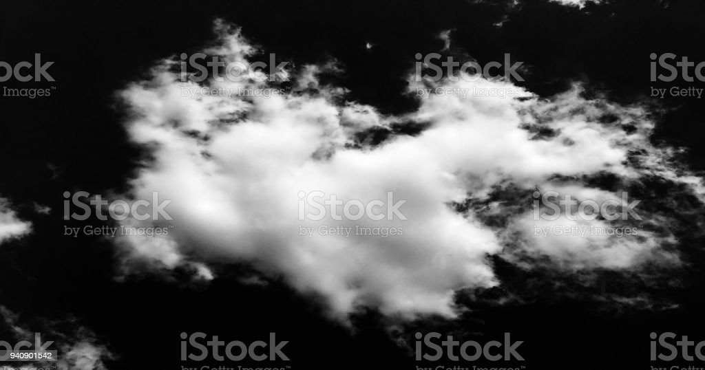 white cloud on black background. Dramatic Clouds Background. stock photo