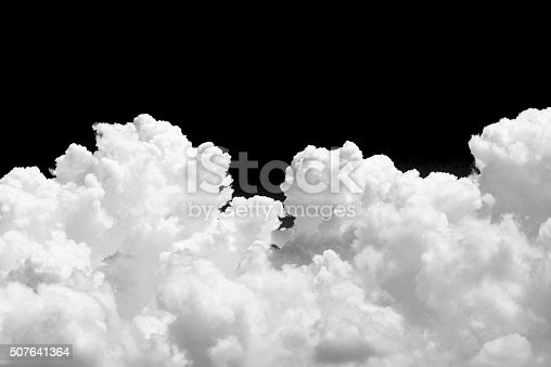 istock White cloud on black background 507641364