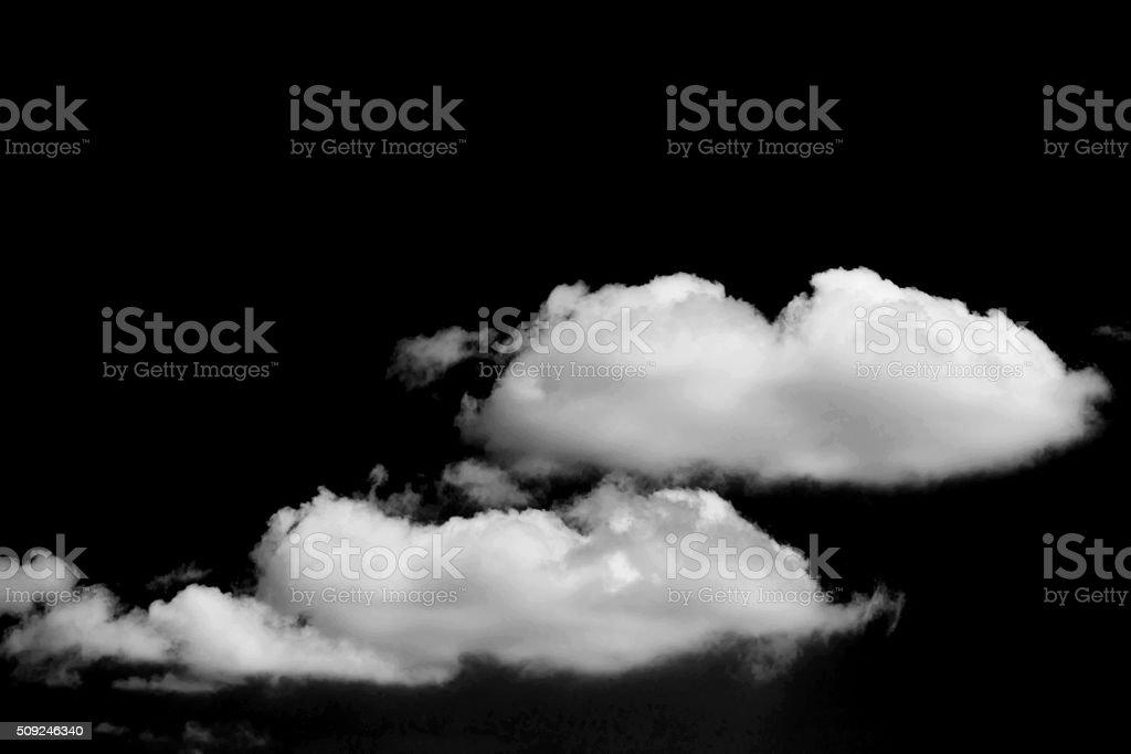 White cloud on black background stock photo