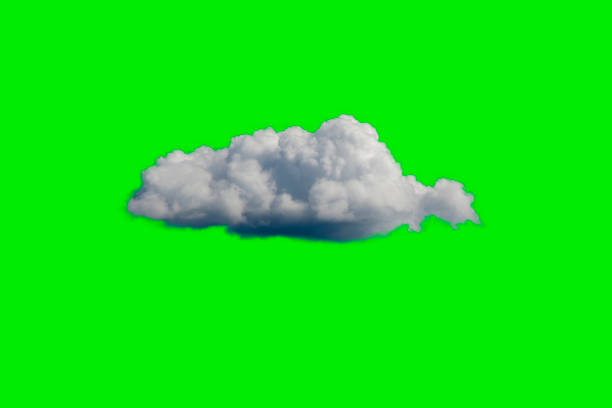 White Cloud on Green Sky or Background stock photo