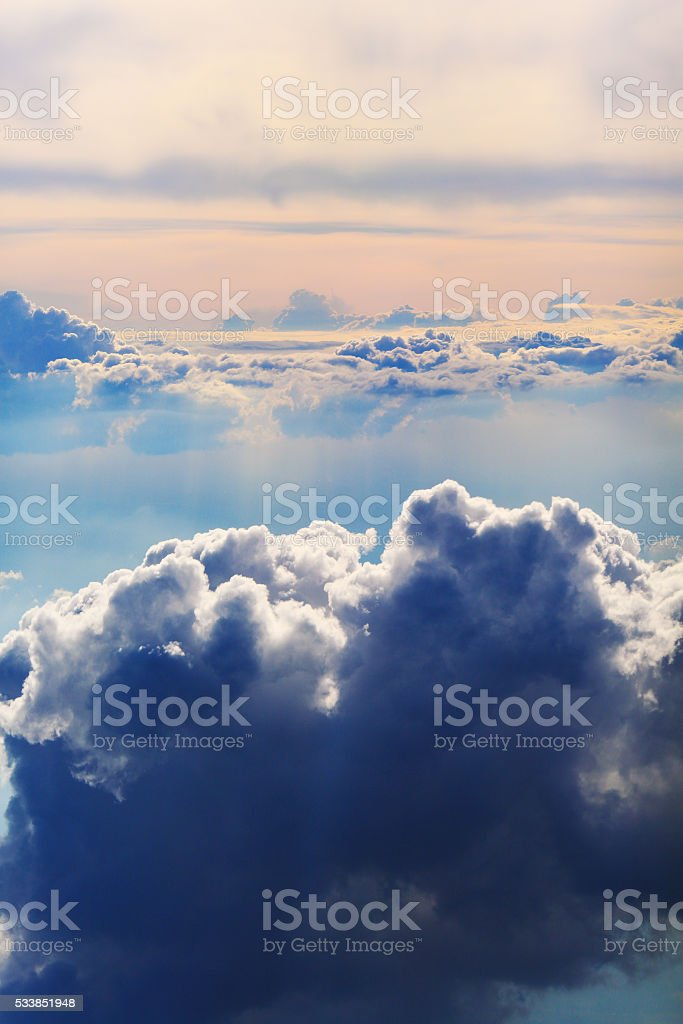 White clouds aerial view natural background stock photo