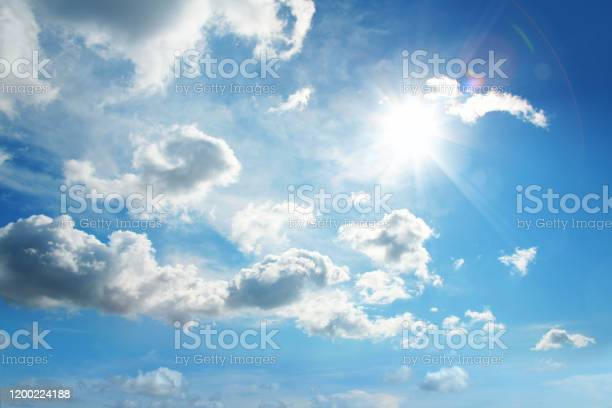 Photo of white clouds and sun in blue sky