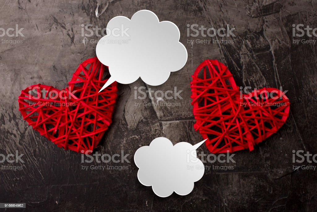 White clouds for Valentine's day comics. Communication between two hearts. Place for your text. Copy space stock photo
