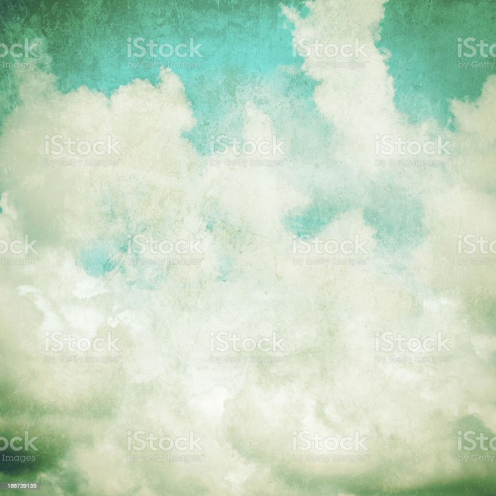White clouds in blue sky vintage royalty-free stock photo
