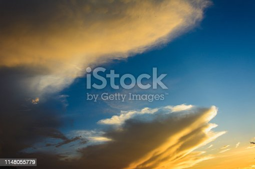 White clouds in the blue sky during the sunset Ukraine 2019
