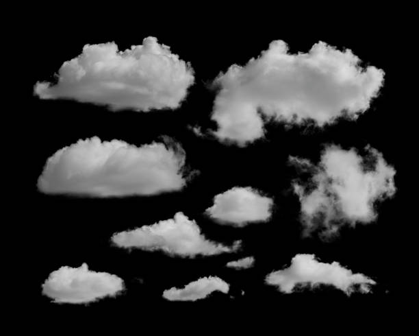 white clouds on a black background - clouds imagens e fotografias de stock