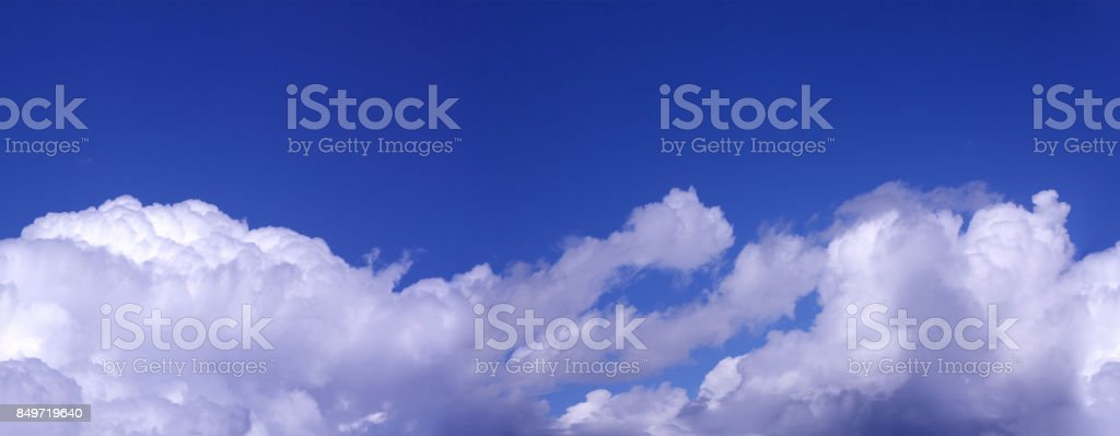 White Clouds on the blue sky as seamless pattern stock photo