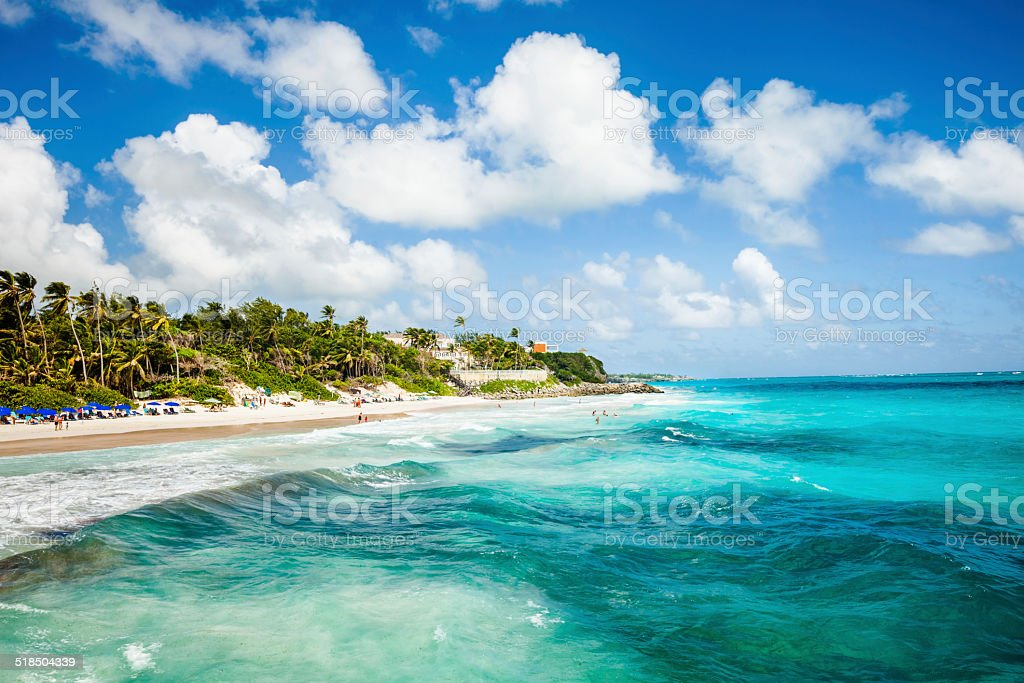 White clouds over Crane Beach in the Barbados. stock photo
