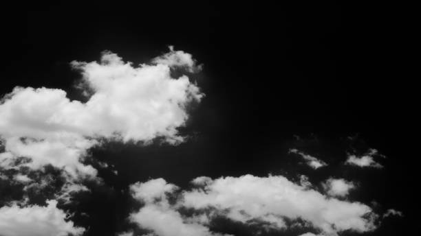 White clouds patterns under the sky Scene of real white clouds patterns cloudscape under the sky, Isolated on black background. Black & white 16:9 image altocumulus stock pictures, royalty-free photos & images