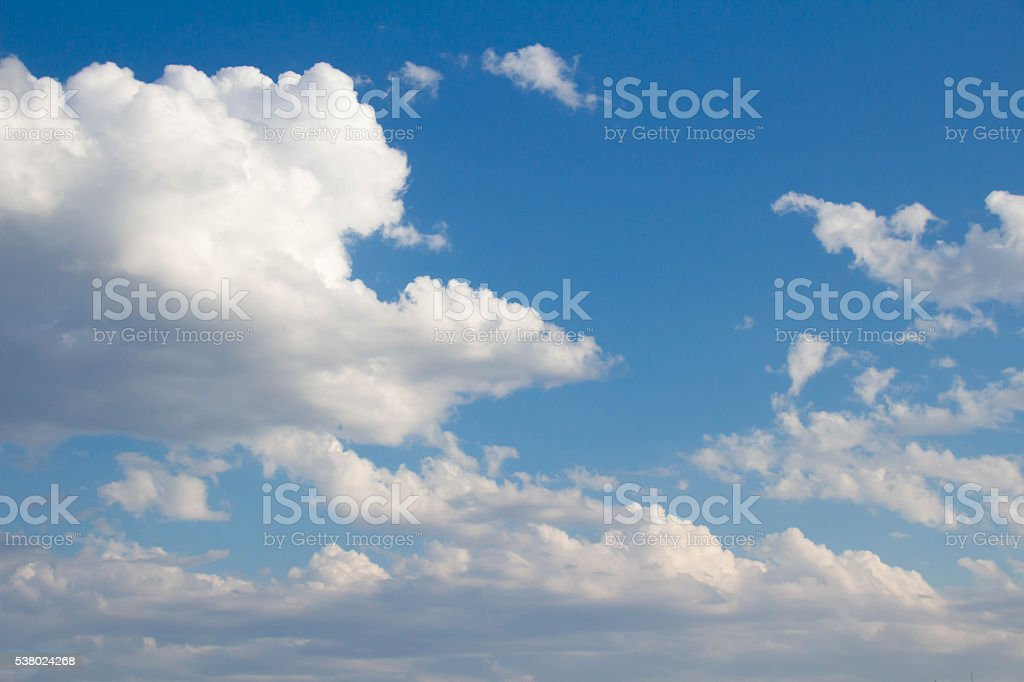 White clouds raged and blue sky finished stock photo