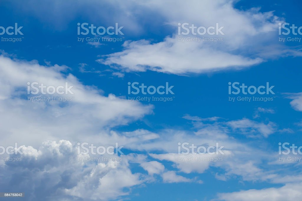 White clouds raged and blue sky stock photo