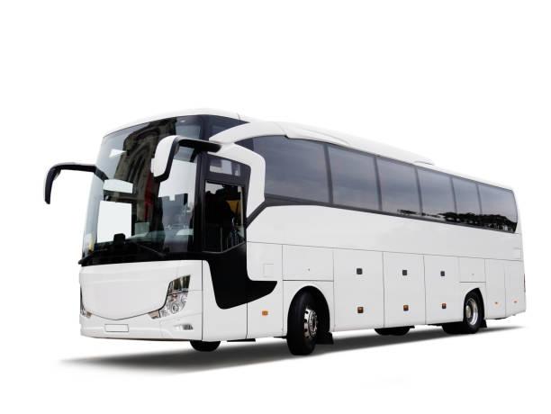 weiße reisebus - tour bus stock-fotos und bilder
