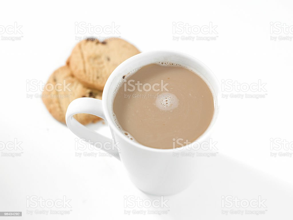White Coffee and buscuits royalty-free stock photo