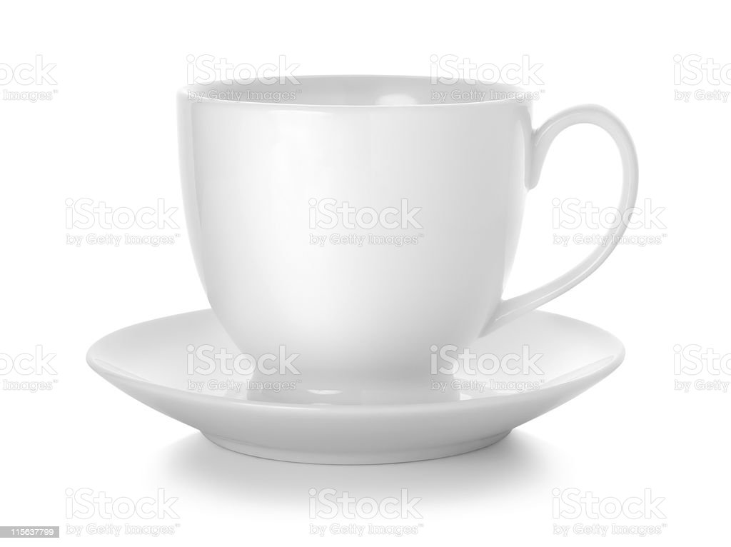 White coffee cup and saucer on white background stock photo