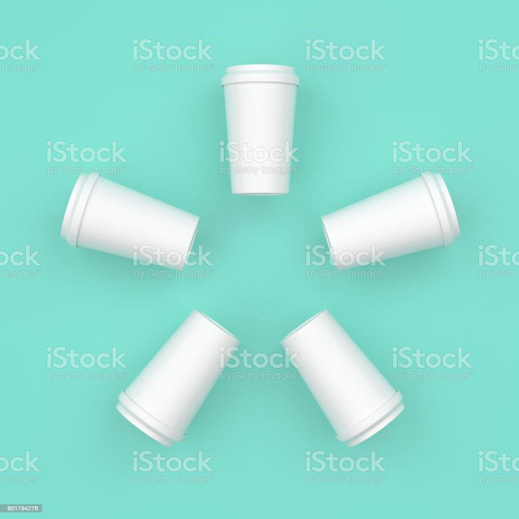 White coffee cup creative minimal design. stock photo