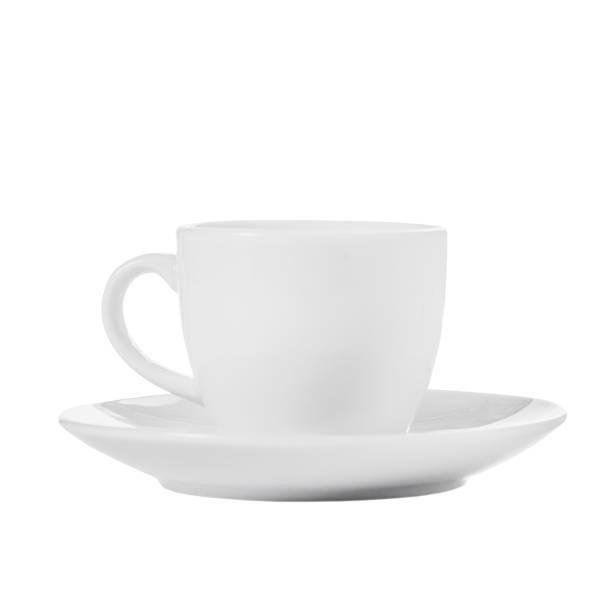 흰색 배경에 흰색 커피 컵 컵과 접시에서 분리 - 컵 뉴스 사진 이미지