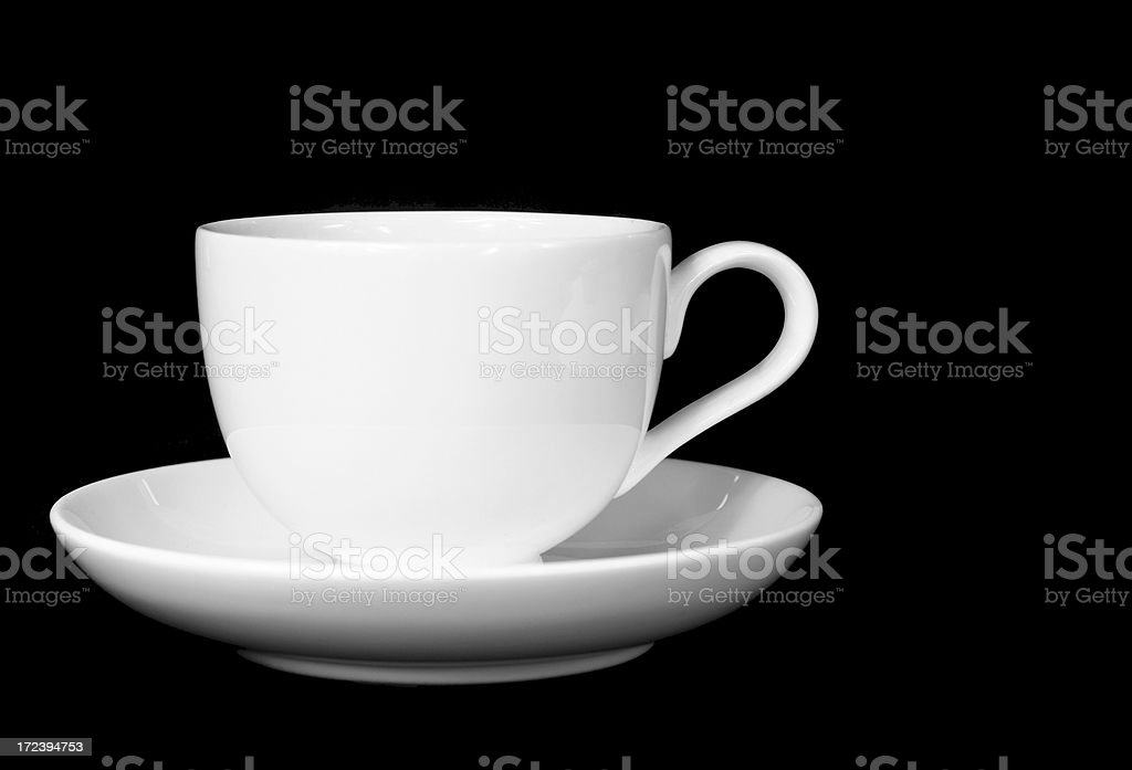 White coffee cup isolated on black royalty-free stock photo