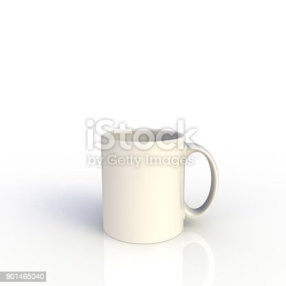904387004 istock photo White coffee cup isolated on white background. Close up with side view. Mock up Template for application design. Exhibition equipment. Set template for the placement of the logo. 3D rendering. 901465040