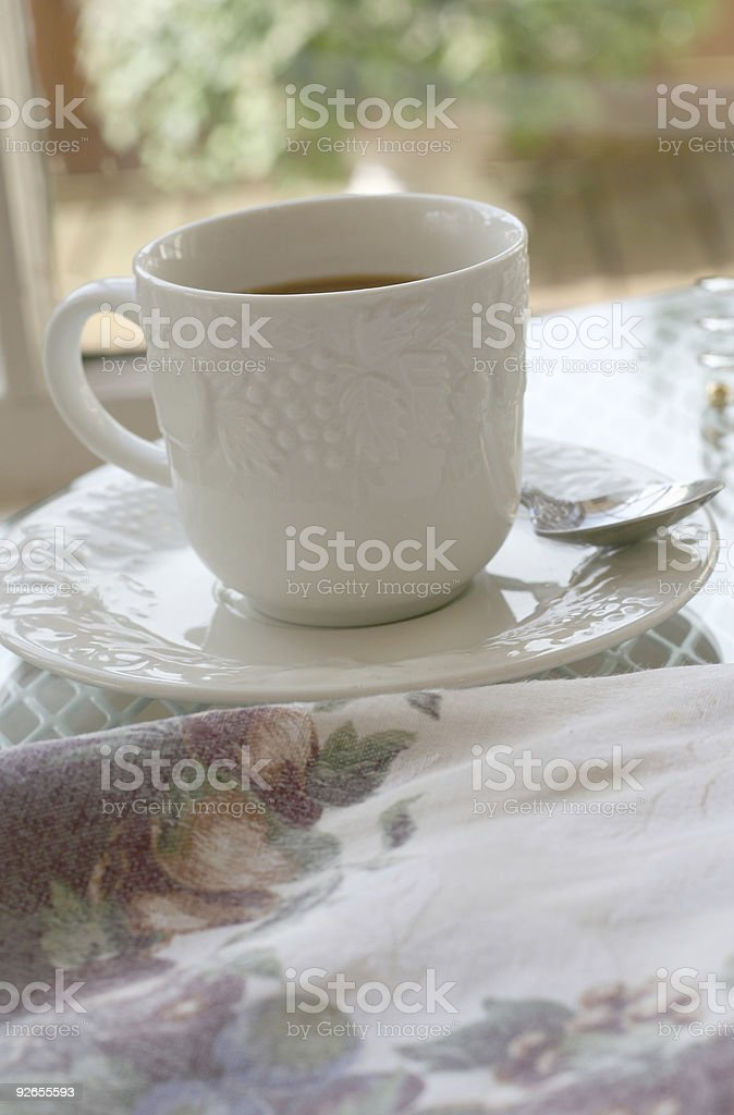 white coffee cup on breakfast table royalty-free stock photo