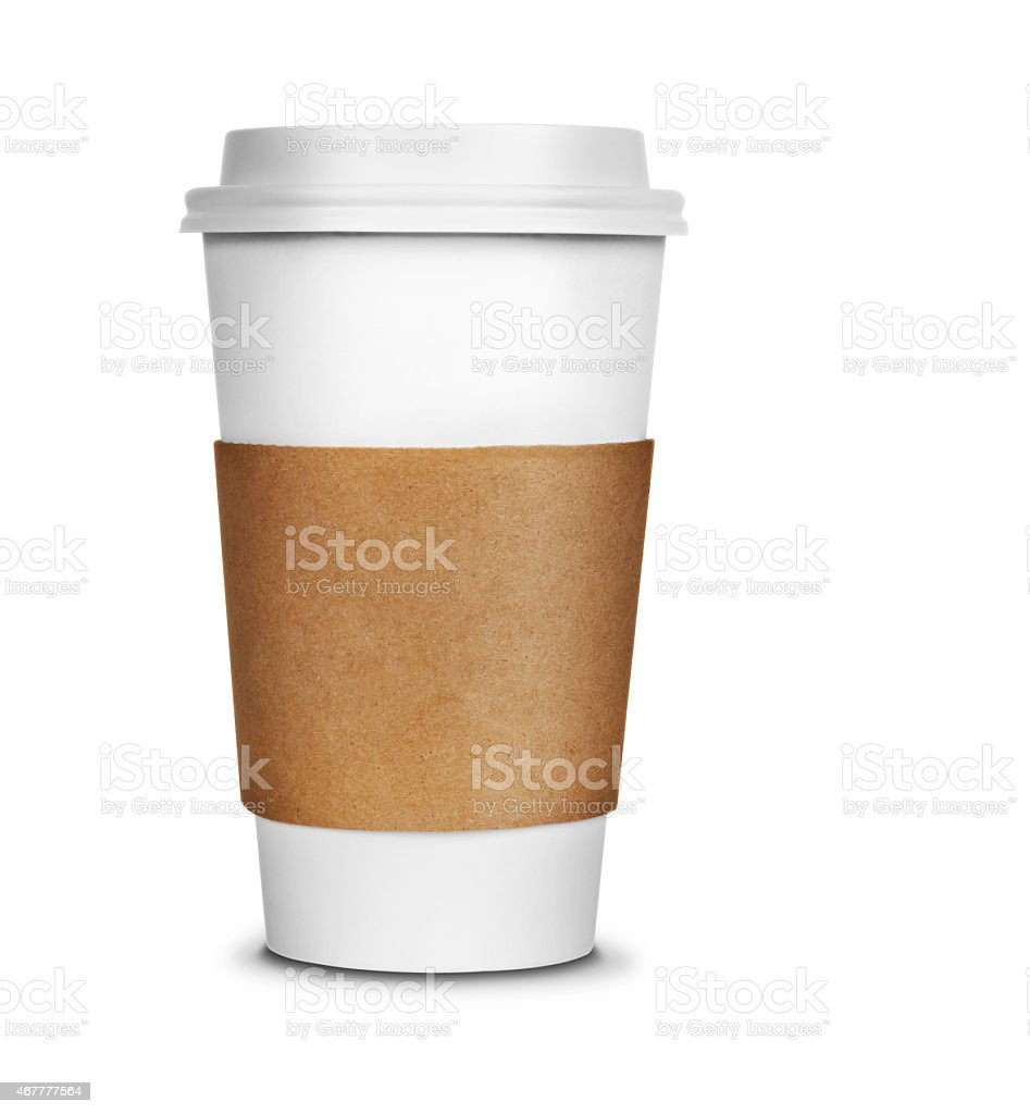 White coffee cup to go on white stock photo