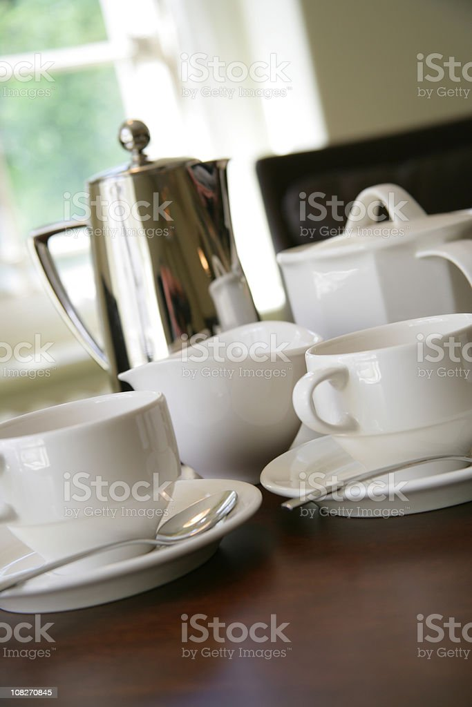White coffee cups and steel kettle royalty-free stock photo