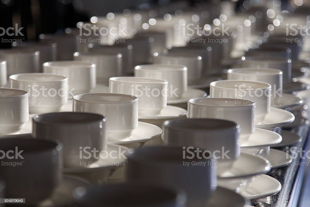 White coffee cups for conference break time. stock photo