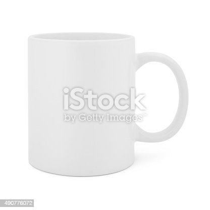 Classic White Coffee Mug isolated on white (excluding the shadow)