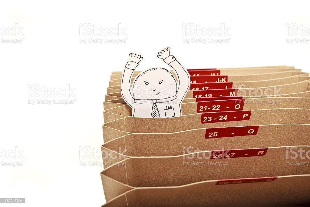 White collar worker and files XXXL royalty-free stock photo