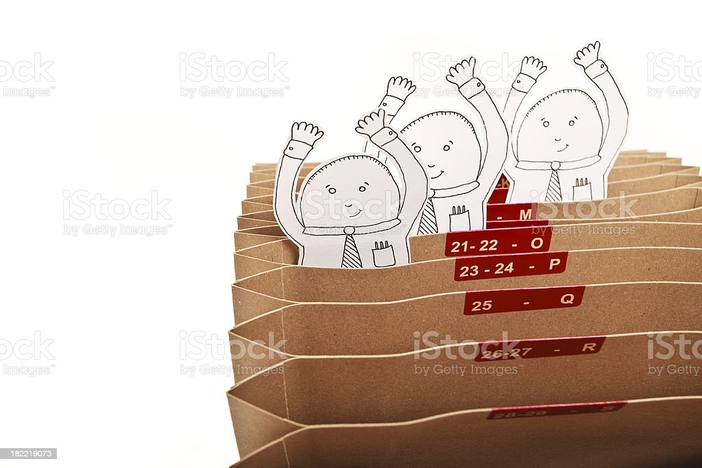 White collar workers and accordion file royalty-free stock photo