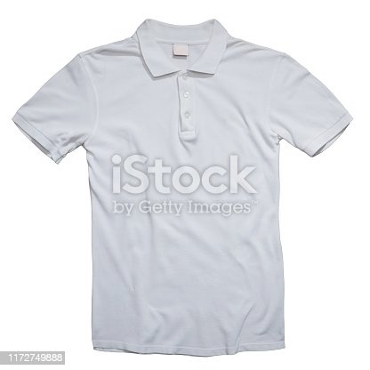 Blank collared shirt mock up template, front view, isolated on white, plain t-shirt mockup. Polo tee design presentation for print.