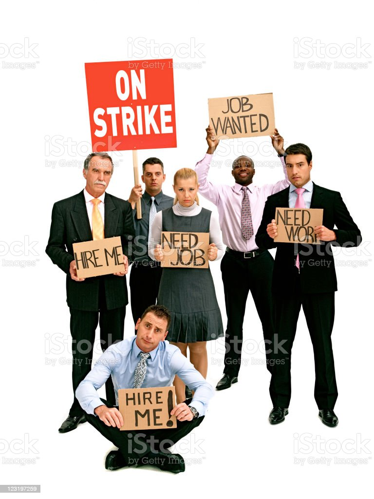 Greve de trabalhadores de espinhaços branco - fotografia de stock