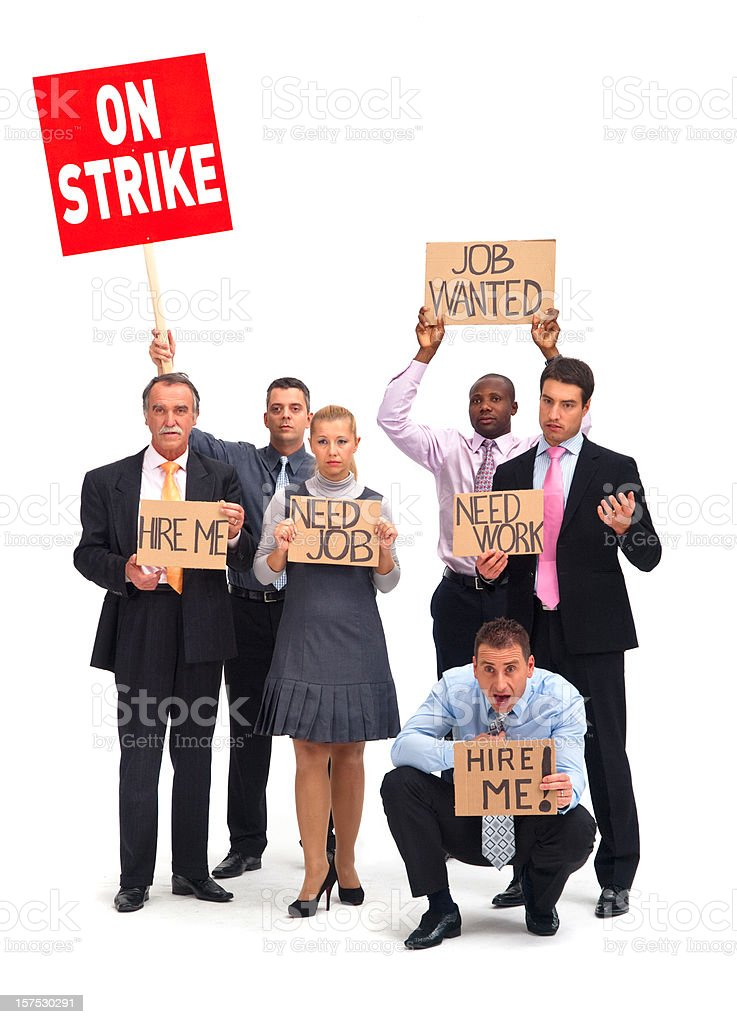 White collars workers on strike stock photo
