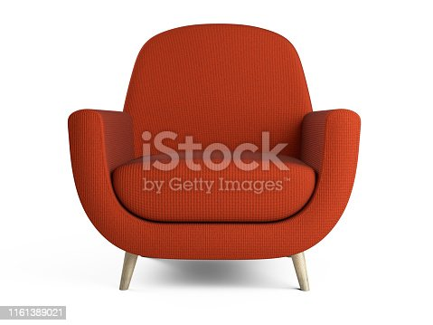 istock White color armchair. Style modern chair isolated on a white background - front view. 1161389021