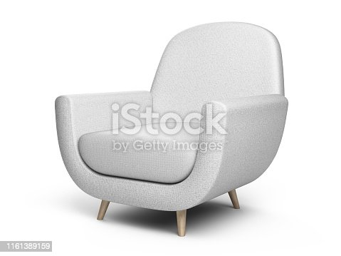 istock White color armchair. Style modern chair isolated on a white background. 1161389159