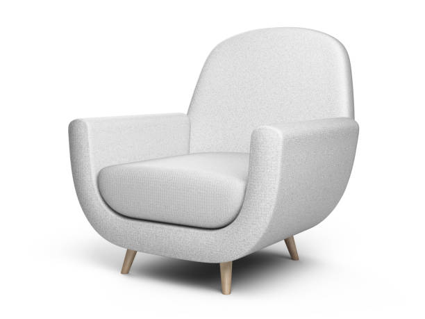 White color armchair. Style modern chair isolated on a white background. White color armchair. Style modern chair isolated on a white background. 3d illustration. armchair stock pictures, royalty-free photos & images