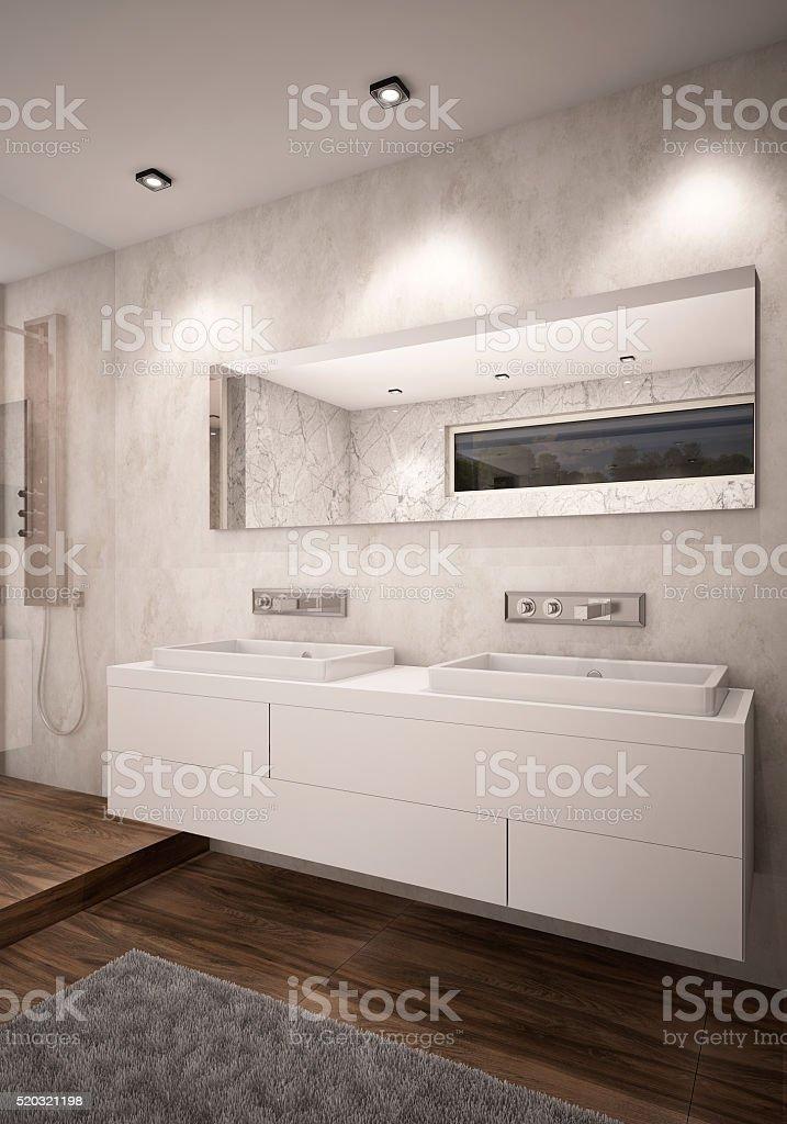 Weißer Farbe Badezimmer Mit Doppelwaschbecken Kamera 1 Abend Stock ...