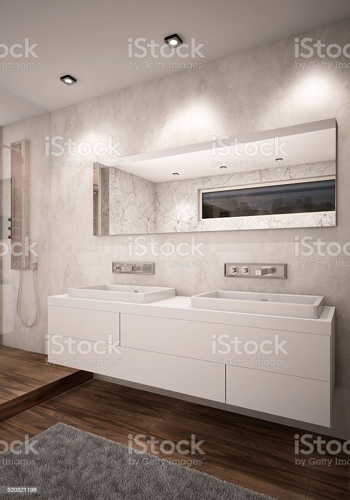 White Color Bathroom with Double Sinks Camera 1 Evening stock photo