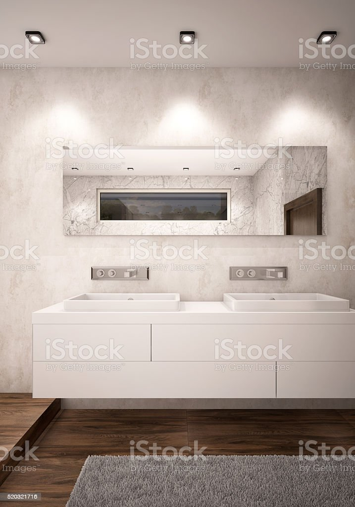 White Color Bathroom with Double Sinks Camera 2 Evening stock photo