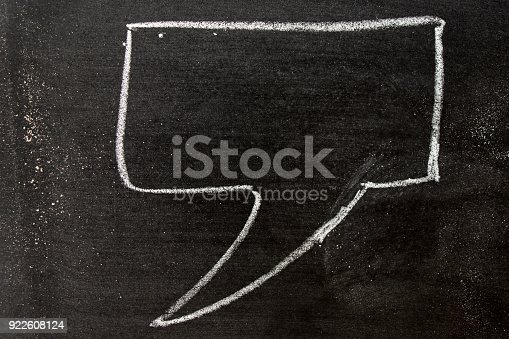istock White color chalk hand drawing as speech bubble shape on black board background 922608124